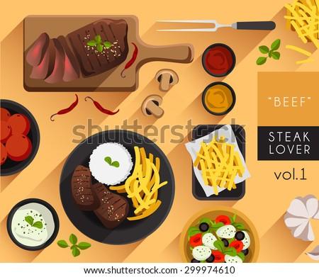 food illustration   beef steak