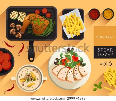 Food Illustration : Chicken Steak Set : Vector Illustration