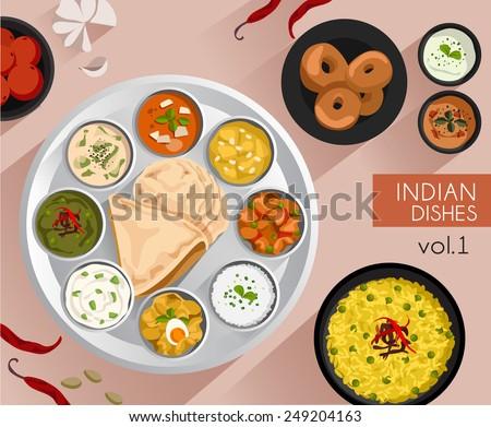 Food Illustration : Indian food :Vector Illustration