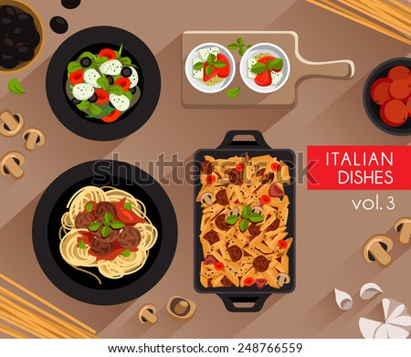 Food Illustration : Italian food :Vector Illustration