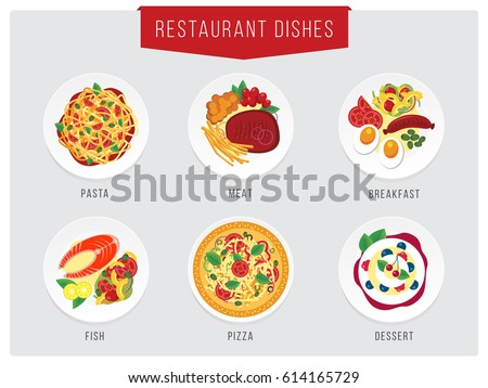 Stock Photo Food illustration. Restaurant dishes collections. Pasta, meat, fish, breakfast, desert icons for restaurant or cafe menu