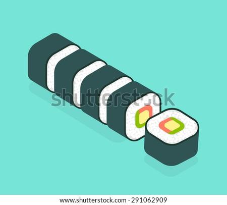 food illustration  set of sushi