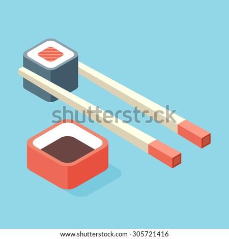 food illustration   sushi roll