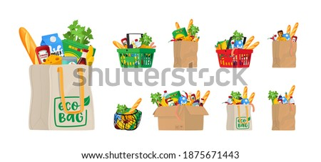Food in Grocery Basket, Eco or String Bag and Carton Box. Different Shopping Bags with Production Vegetables, Bread, Cans with Packages, Sausages, Greenery, Cheese or Milk. Cartoon Vector Illustration