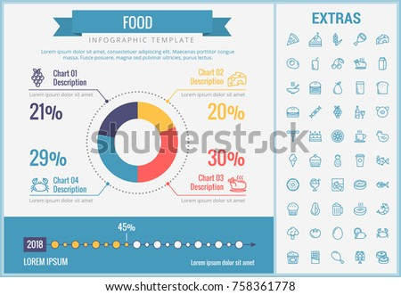 Food infographic template, elements and icons. Infograph includes customizable pie chart, graph, line icon set with food ingredients, restaurant meal, fruit and vegetables, sweet snacks, fast food etc