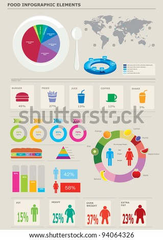 Food infographics elements. - stock vector