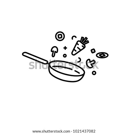 Food is fried in a pan, vector icon on white background Foto stock ©