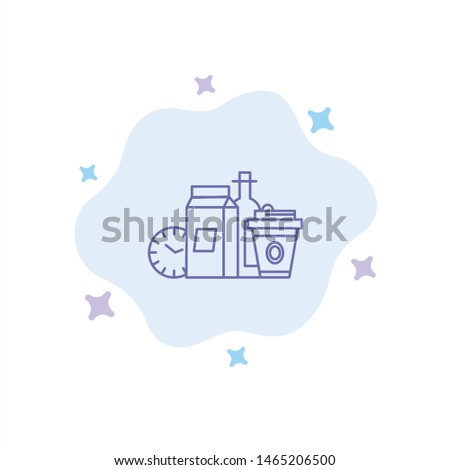 Food, Items, Milk, Items, Coffee Blue Icon on Abstract Cloud Background. Vector Icon Template background