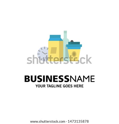 Food, Items, Milk, Items, Coffee Business Logo Template. Flat Color