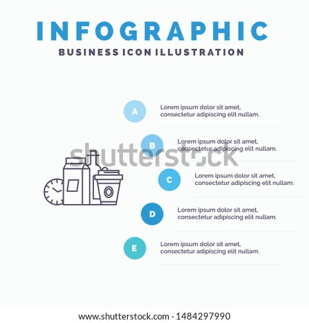 Food, Items, Milk, Items, Coffee Line icon with 5 steps presentation infographics Background. Vector Icon Template background