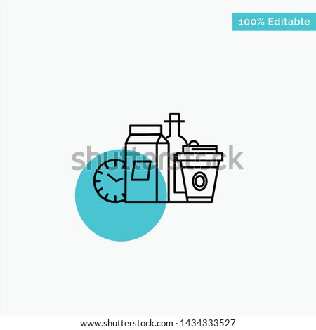 Food, Items, Milk, Items, Coffee turquoise highlight circle point Vector icon