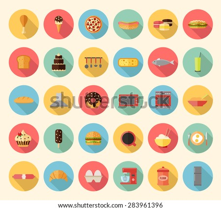 Food, kitchen appliances and kitchenware flat design icons set