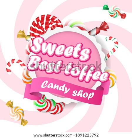 Food Label or Sticker Candy shop. Sweet candies flat icons set. Candies, sweetmeats, lollipops and assorted chocolates colorful lollipops