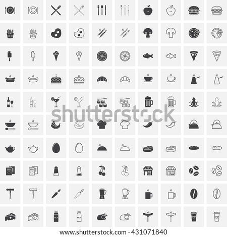 Food line and full icons set, Restaurant outline and solid vector symbol collection, linear pictogram pack isolated on white for web and mobile, cafe logo illustration