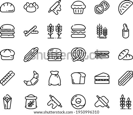 Food line icon set - burger, bread, hot dog, sandwich, burito, dim sum, dough and rolling pin, calsone, pretzel, spike, donut, croissant, baguette, french, flour bag, spikes, sanwich, muffin, wheat