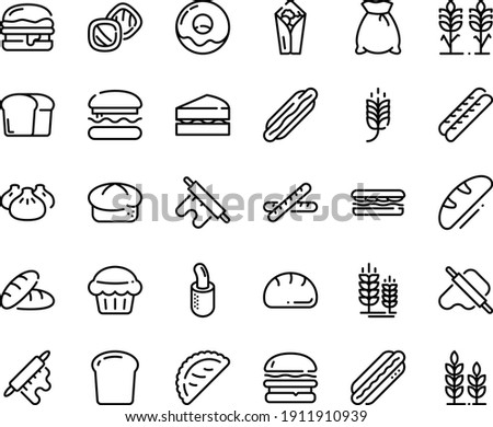 Food line icon set - burger, spike, bread, hot dog, sandwich, burito, dim sum, dough and rolling pin, calsone, donut, baguette, french, piece, flour bag, spikes, sanwich, muffin, cookies, wheat