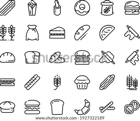 Food line icon set - burger, spike, bread, hot dog, sandwich, burito, dough and rolling pin, calsone, donut, croissant, baguette, french, piece, flour bag, spikes, sanwich, muffin, cookies