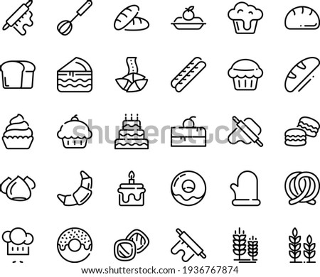 Food line icon set - cherry cake piece, cupcake, bread, donut, fortune cookie, chef hat, dough and rolling pin, pretzel, spike, croissant, baguette, charlotte, meringue, whisk, cooking glove, big
