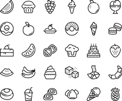 Food line icon set - cherry cake piece, watermelon, donut, ice cream horn, fortune cookie, croissant, charlotte, cocktail, meringue, bakery, cupcake, refined sugar, big, muffin, macarons, cookies
