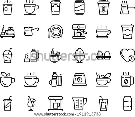 Food line icon set - hot cup, coffee to go, green tea, drink, ceremony, cocktail, coffe maker, top view, turkish, irish, love, machine, capsule, beaker, egg stand, drinks, thermo flask, soda, paper