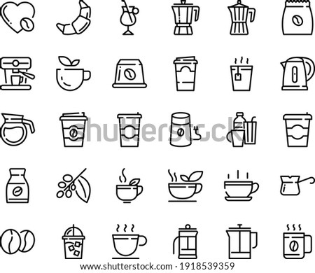 Food line icon set - hot cup, coffee to go, green tea, pot, croissant, iced, french press, mill, turkish, tree, instant, irish, love, machine, pack, beans, capsule, kettle, drinks, paper