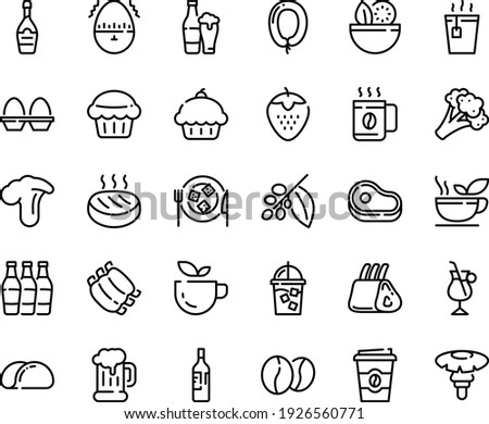 Food line icon set - salad, meat, cupcake, green tea, hot, coffee to go, beer mug, sausage, champagne, cheese plate, iced, tree, irish, beans, ribs, cutlet, egg stand, timer, wine bottle, cup Photo stock ©