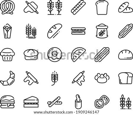 Food line icon set - spike, bread, hot dog, sandwich, burito, dim sum, dough and rolling pin, calsone, pretzel, burger, donut, croissant, baguette, french, piece, flour bag, spikes, sanwich, muffin