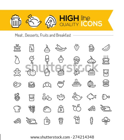 Food line icons including: meat, desserts, fruits and breakfast