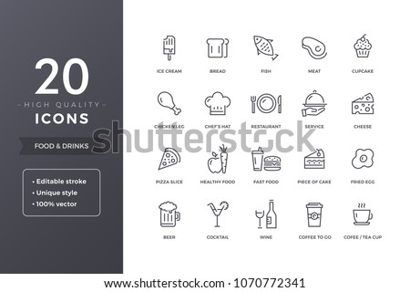 Food line icons.  Meals and drinks  icon set with editable stroke