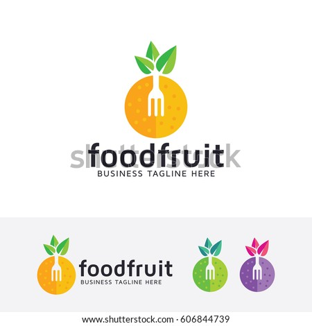 food logo design fruit  fork