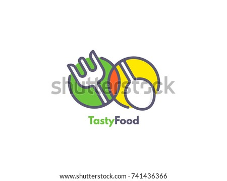 Food logo like icon. Fork and Spoon inside circles. Catering concept. Flat line vector illustration.