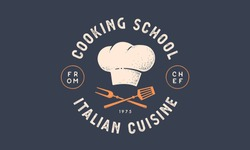 Food logo. Logo for Cooking school class with icon bbq tools, grill fork, spatula, text typography Coocking School, Cuisine. Graphic logo template for cooking cuisine course. Vector Illustration