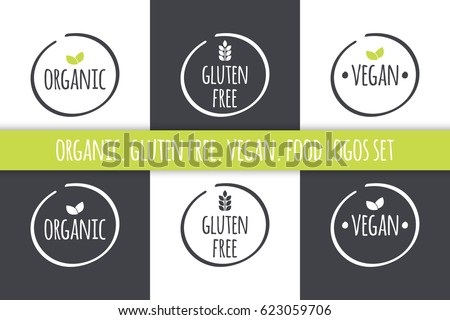 Food logos set. Organic Gluten Free Vegan labels. Vector grey white isolated symbols with green leaves
