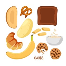 Food macronutrients. Rich in carbs food set. High carbs food isolated on white. Carbohydrate diet Potatoe, bread, pastries, banana, cookies, oatmeal, pasta. Nutrient complex diet vector infographic.