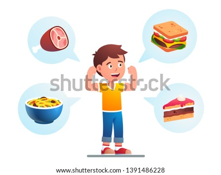 Food makes child growing strong concept. Healthy kid imagining varied meals he will eat to become stronger and showing his fit arms muscles. Flat vector character illustration