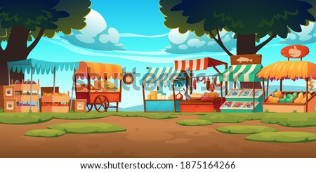 Food market stalls with fruits, vegetables, cheese, meat and fish on counter and in crates. Vector cartoon landscape with traditional marketplace tents with farm produce, wooden kiosks with canopy Photo stock ©