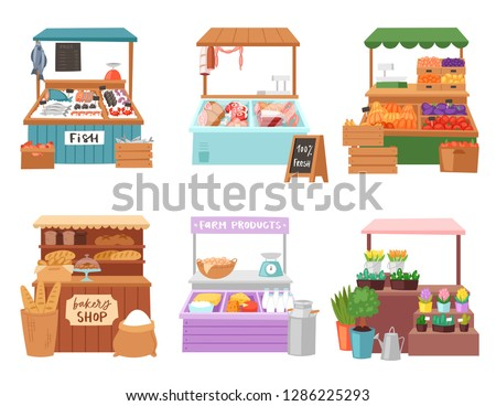 Food market vector salesman seller character selling in bookshop butcher or baker in stall illustration set of people sale vegetables in grocery or fishmongers isolated on white background