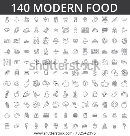Food, meat, vegetable, fruit, fried chicken, fresh fish, meal, organic diet, street, eating, gastronomy, culinary line icons, signs. Illustration vector concept. Editable strokes