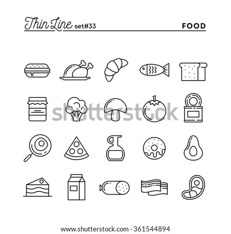 Food, meat, vegetables and more, thin line icons set, vector illustration