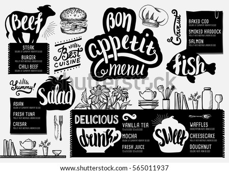 Food menu for restaurant and cafe. Design template with hand-drawn graphic elements in doodle style.