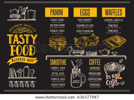 food menu for restaurant and