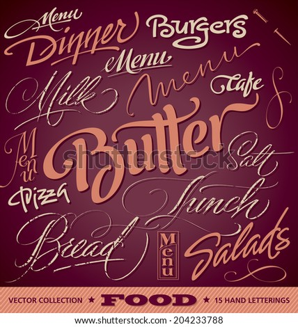 FOOD menu headlines set of 16 hand letterings -- custom handmade calligraphy, vector (eps8)