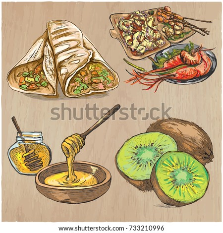 FOOD menu. International Cuisine set. Cooking and Dish. Vector collection of an hand drawing illustrations. Pack of  hand drawn freehand sketches. Line art technique.