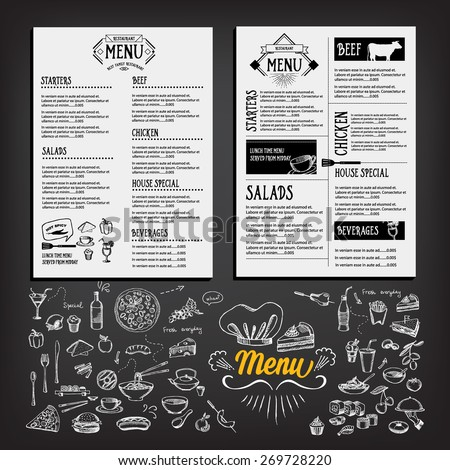 Food menu, restaurant template design. Flyer cafe. Brochure vintage. Cook idea.