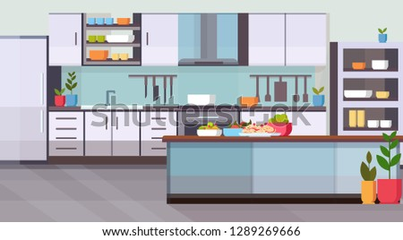 food on table modern kitchen interior design empty no people room contemporary appliances cooking and culinary concept flat horizontal
