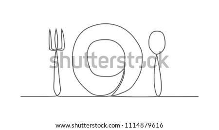 Food One line drawing on white background