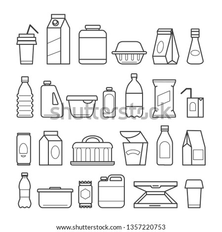 Food package icons. Meal packaging, eating packs, nutrition meat sachet cases and plastic beverage containers, paper pizza boxes, vector ilustration