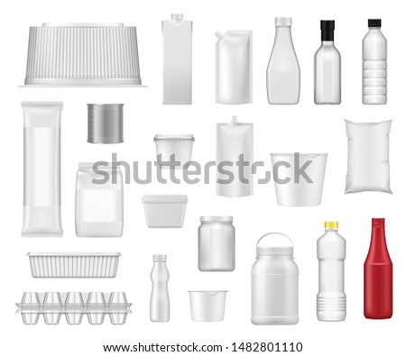 Food packages and product plastic box packs realistic templates. Vector 3D water drink bottle, yogurt plastic container, metal can and milk carton pack, ketchup bottle and mayonnaise pack mockups