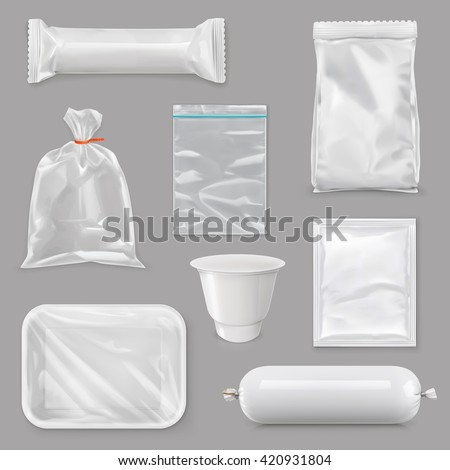 Food packaging for different snack products, design pack template for branding,  vector set mock up #420931804