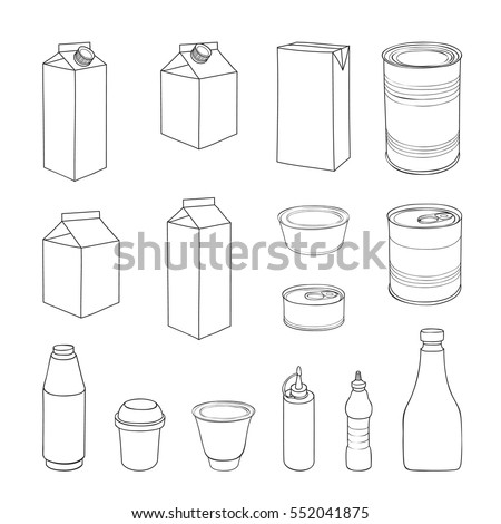 Food packaging set. Different package outline doodle drawn icon collection